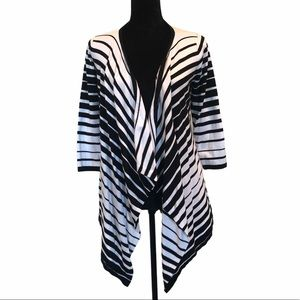 Cyrus waterfall open front striped cardigan